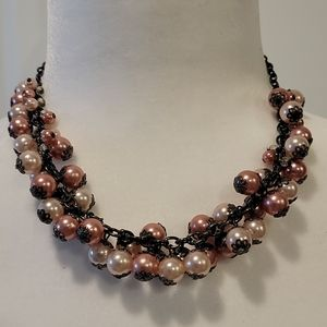 NWOT Pink Pearls/Crystals Necklace